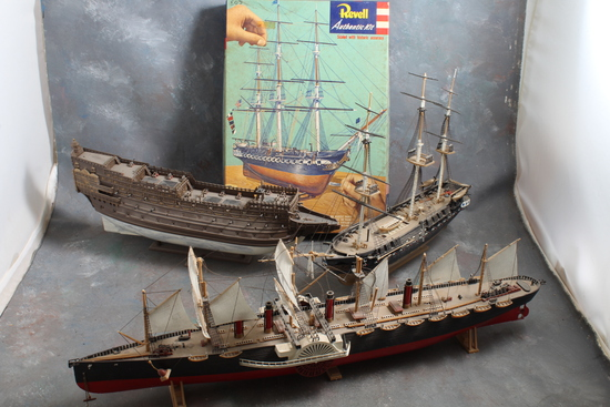 3 Vintage Ship Models Old Ironsides U.S.S. Constitution has the Box Side Wheeler