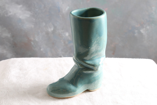 """Vintage Rosemeade Turquoise Stoneware Boot Measures 4"""" Tall"""