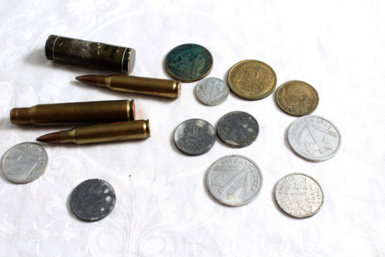 Lot of World War 2 Brass Bullets, Military Battery, French Coins & 5 Other Coins