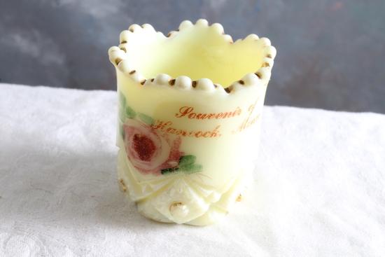 Antique Custard Glass Souvenir Toothpick or Match Holder Hancock, Minnesota