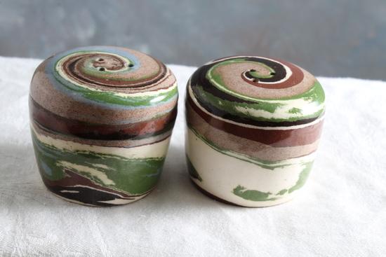 Desert Sands High Gloss Pottery Salt & Pepper Shakers