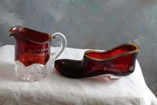2 Early 1900's Ruby Flash Souvenirs Shoe Hammond, Illinois & Bedford, PA Pitcher