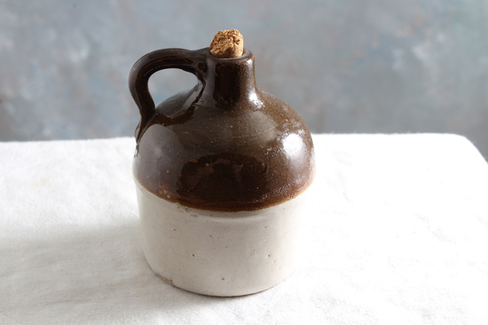 """Red Wing Brown Top Fancy Mini Jug Measures 2 7/8"""" Tall Unmarked"""