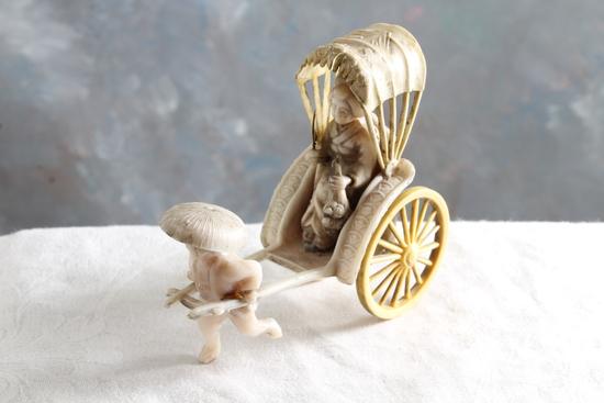 "Vintage Celluloid Oriental Rickshaw Figurine Measures 3"" Tall x 4"" Long"