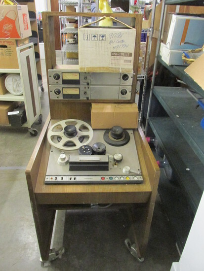 Ampex Reel To Reel Tape Recorder In Wheeled Cart - Tagged Mayo Clinic Property -