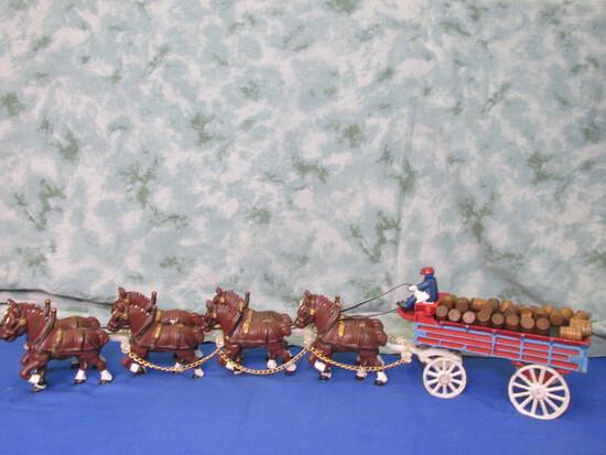 Cast Iron  Budweiser Beer Wagon – 8 Horse Hitch, 2 Drovers, 1 Dog & 29 Wood Barrels