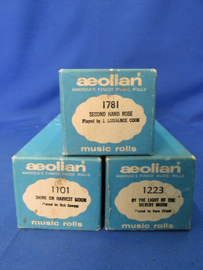 3 Vintage Aeolian Player Piano Rolls: Very Good Condition– playable & in one piece