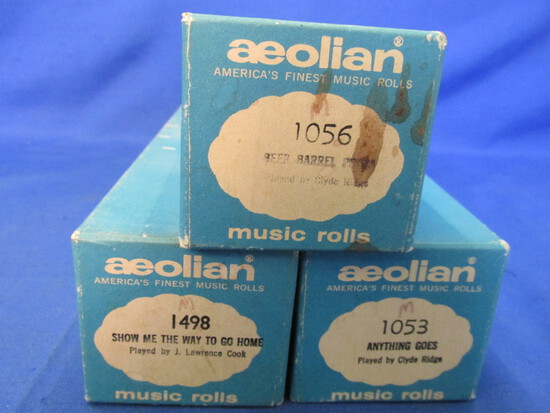 3 Vintage Aeolian Player Piano Rolls: Very Good Condition – playable & in one piece