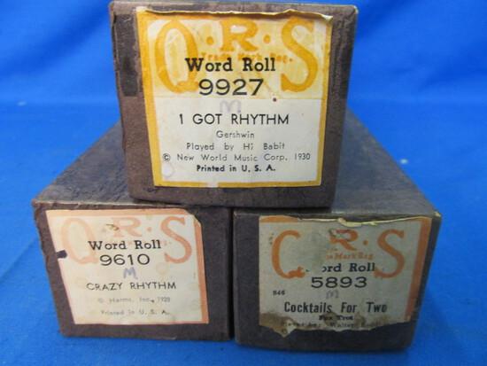 Vintage QRS Word Roll Piano Rolls -Gershwin I Got Rhythm, Crazy Rhythm, & Cocktails