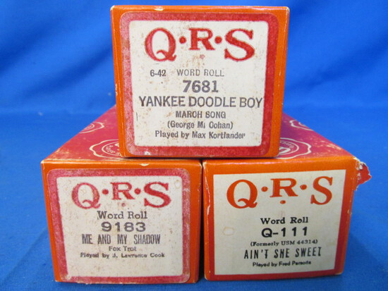 Vintage QRS Word Roll Piano Rolls WWI & 1920's songs – Very Good Condition –