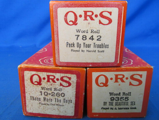Vintage QRS Word Roll Piano Rolls -WWI Era, 1920's, & 1966 Songs – Very Good