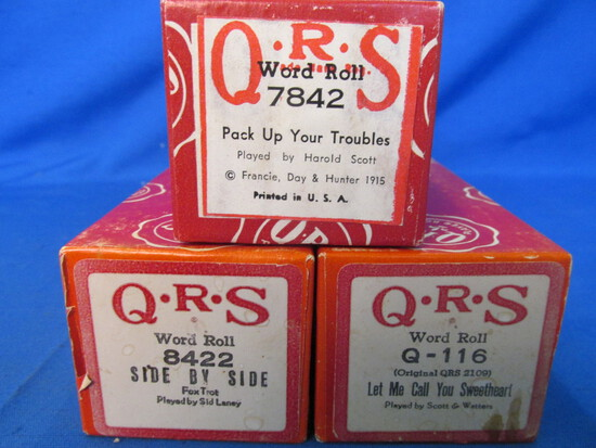 Vintage QRS Word Roll Piano Rolls -WWI Era, Tin-Pan Alley – Very Good Condition