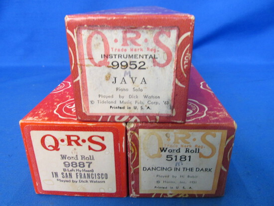 3 Vintage QRS Word Roll Piano Rolls – Very Good Condition – playable & in one piece