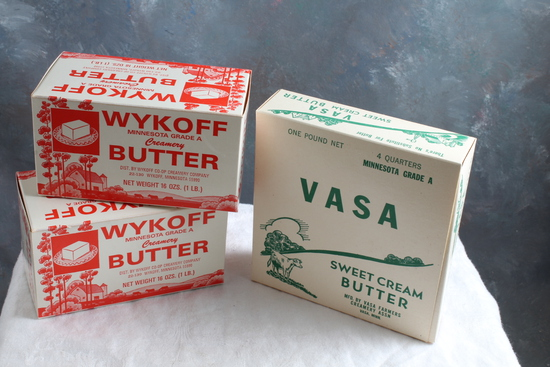 2 Vintage Wykoff Minnesota Butter Boxes & 1 Vasa Minnesota Butter Box