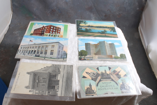 6 Antique Postcards of Rochester Minnesota Post Office, Silver Lake, Kahler Hotel,