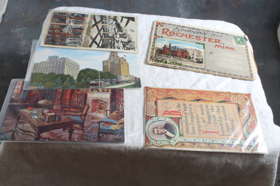 5 Antique Postcards of Rochester Minnesota Mayo Clinic & Kahler Hotel, F.J. Paine