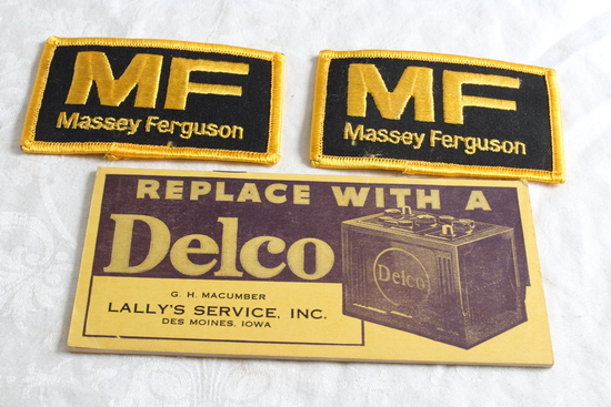 2 Massey Ferguson Embroidered Patch NOS 1939 DELCO Battery Pocket Ledger