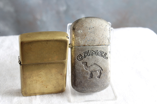 2 Vintage Lighters Advertising Camel Cigarettes and Brass ZIPPO