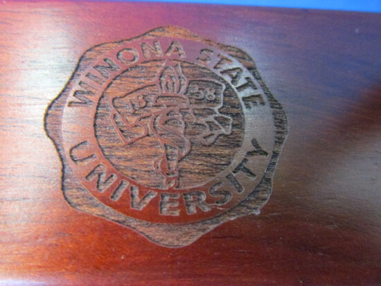 Laser Cut Exotic Wood Ball-point Pen & Matching Box/Desk Top Stand: Winona State U