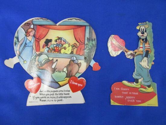3 Vintage Disney Valentines: 1939 Walt Disney  Productions  (Goofy) & Pinnochio