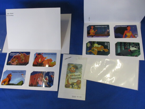 9 Collectible Disney Pre-Paid Phone Cards – 1995