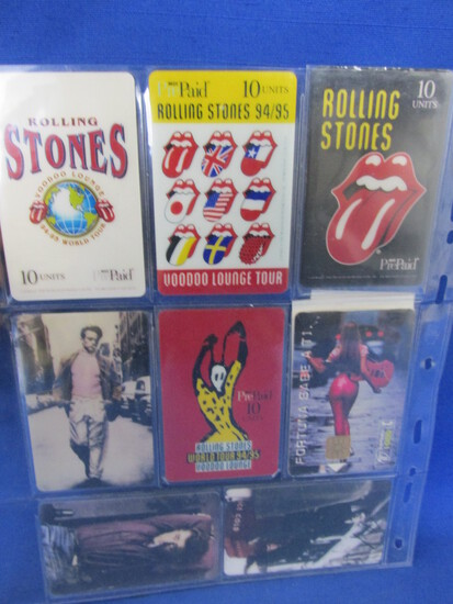8 Collectible Pre-Paid Phone Cards Mid 90's – 4 Rolling Stones, 3 James Dean, 1 Fortuna