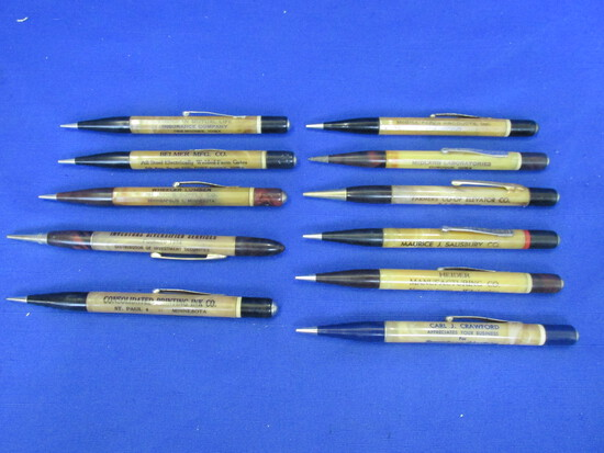 11 Vintage Redipoint Mechanical Pencils with Advertising