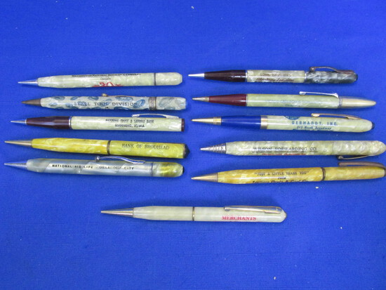 11 Vintage Pearlized Celluloid Mechanical Pencils with Advertising