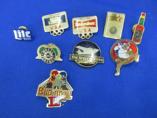 Group of 8 Pins: Olympics: Budweiser & AT& T, Bud Bowl II, Lite Beer,Tabasco,  (more)
