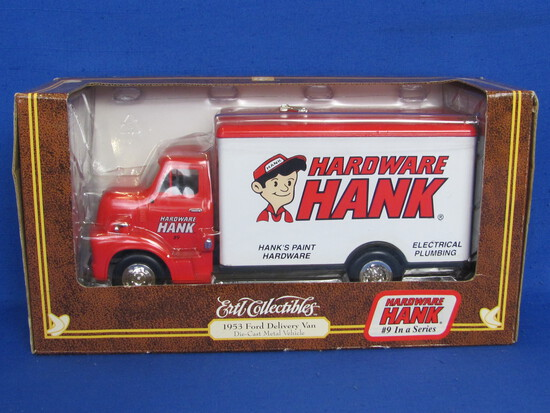"""Ertl 1953 Ford Delivery Van – Hardware Hank – 1996 – 8 1/2"""" long – New in Box"""
