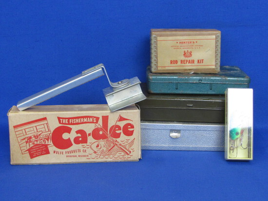 Lot of Vintage Fishing Gear: Ca-dee in original box, Metal Tackle Boxes, Rapala Lure