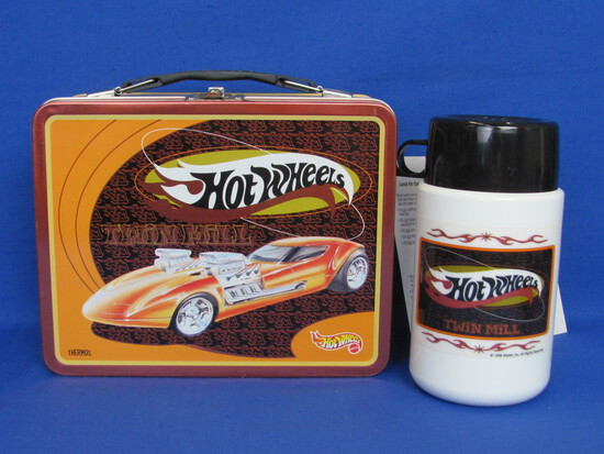 1998 Hot Wheels Twin Mill Metal Lunchbox with Thermos & Paper