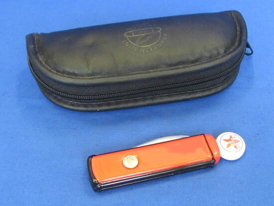 """Franklin Mint Folding Knife – Texaco Gas Pump """"Texaco Star Power for Car Power"""""""