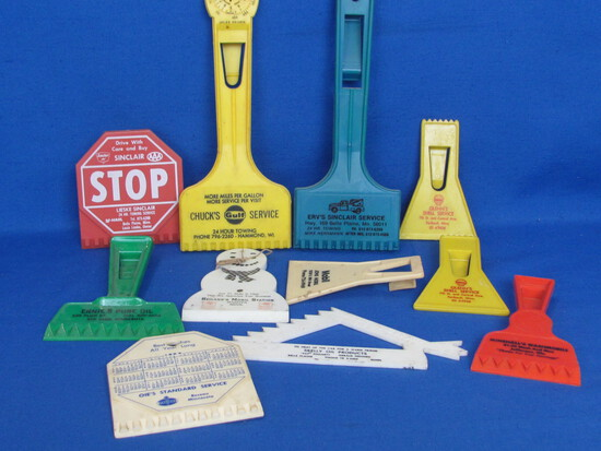 Lot of Vintage Gas & Oil Advertising: Car Scrapers – Gulf, Shell, Mobil, Sinclair