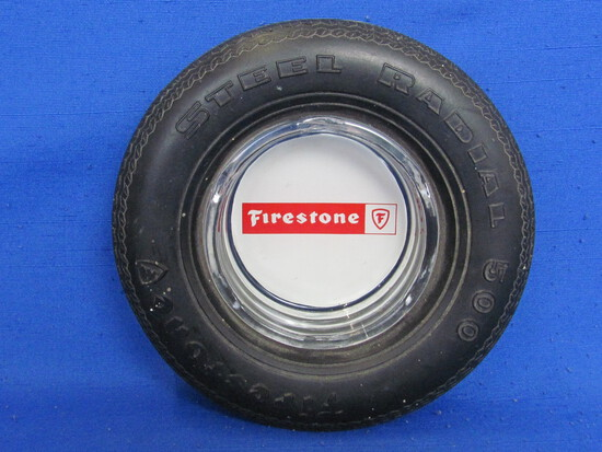 "Firestone Tire Ashtray – Glass & Rubber – Steel Radial 500 – 6"" in diameter"
