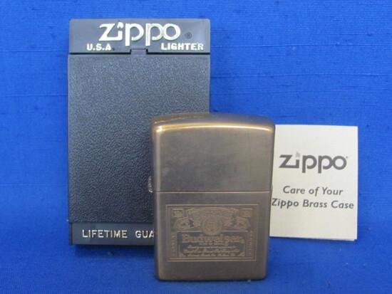 """Brass Zippo Lighter """"Budweiser"""" - 1996 with Case & Paper"""