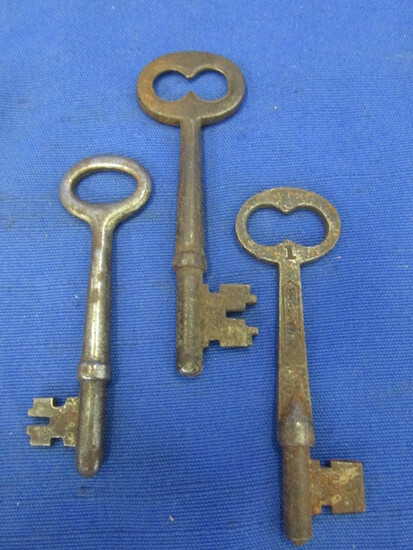 3 Antique/Vintage Skeleton Keys (one pat May 15,88)