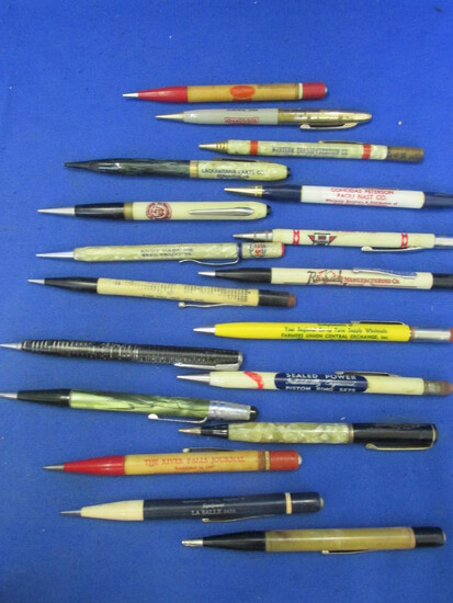 18 Vintage Mechanical Pencils – Many w/ Advertising – 1940's-50's era