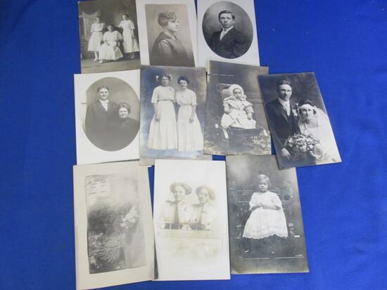 10 Antique B & W Portraits/Postcards (Adults)