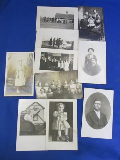 10 Antique B & W Portraits/Postcards ( Children/Adults)