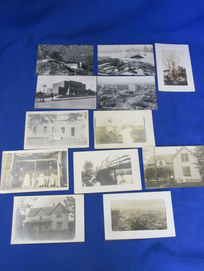 12 Antique  & Vtg.B & W Portraits/Postcards : Farming, Skinny-Dippers on Bridge