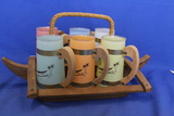 "Vintage Siesta Ware Set of Mugs w/ Wood Tray – Island Themed – Mugs are 5 1/4""T"
