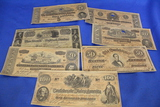 Lot of 7 Old Bills – 6 Confederate States of America, 1 1840 Bank of the United States