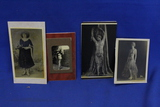Lot of 4 Vintage Photos – Woman w/ Snake, Topless Belly Dancer, etc. - Look like Reproductions