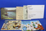 Paper Lot – 3 Giant MN Themed Post Cards, 1941 Yellowstone Visitor Pamphlet,