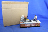 Cast Iron Mechanical Bank – Hockey Players – Works – Nice reproduction piece