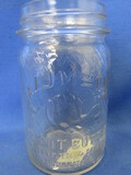 Jumbo Brand Peanut Butter Glass Jar, Zinc Lid Elephant's Head raised decoration