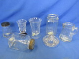 7 Piece Glass Lot – Odds 'N' Ends (2 cut glass Juice/sherry) Lemon reamer, & More