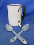 Antique Enamelware (irrigator- medical) & 2 Blue Spoons