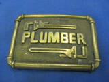 "Solid Brass ""Plumber"" Belt Buckle – 1978 – Baqron Buckle – Rectangle"